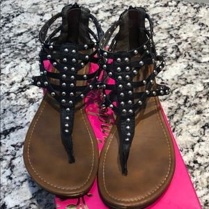 Black Studded, ZIP Up Candies Sandals size 8.5